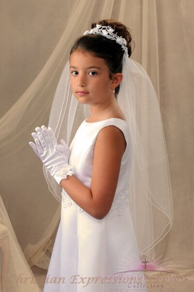 First Communion Bun Wrap Veil Style Tamara