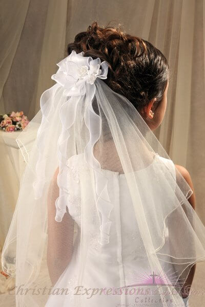 First Communion Comb Veil Organza Bow