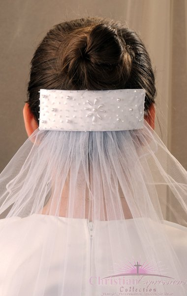 First Communion Comb Veil Style Crystal