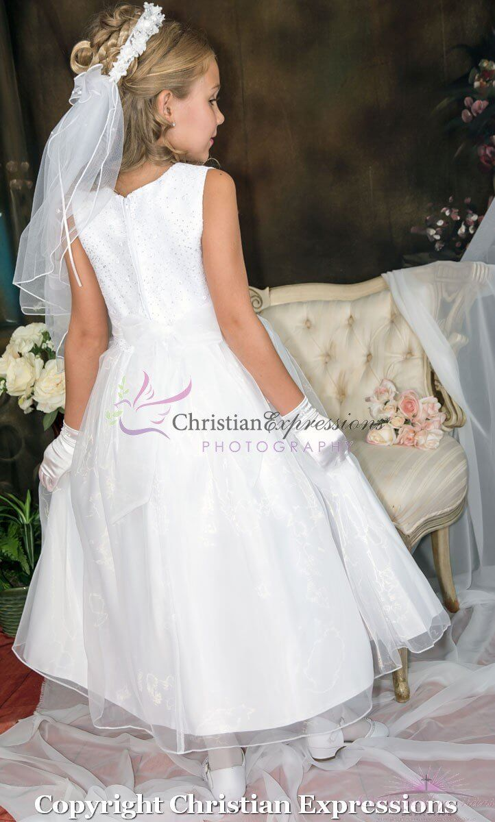 First Communion Dress Lace Bodice with Silver Beading ...
