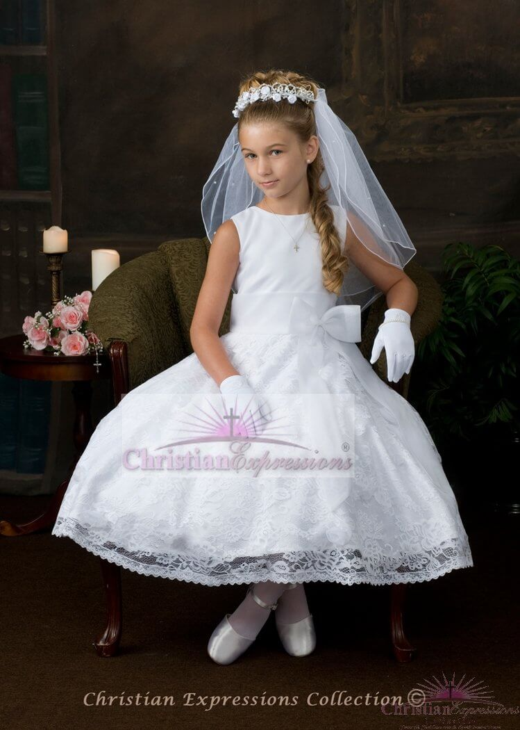 Tea Length First Communion Dress with Lace Skirt