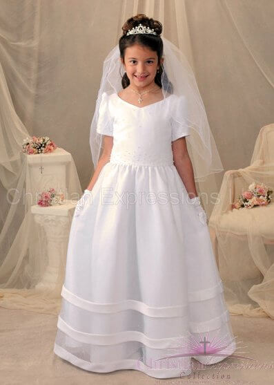 Long Length Satin Organza First Communion Dress with Pearls
