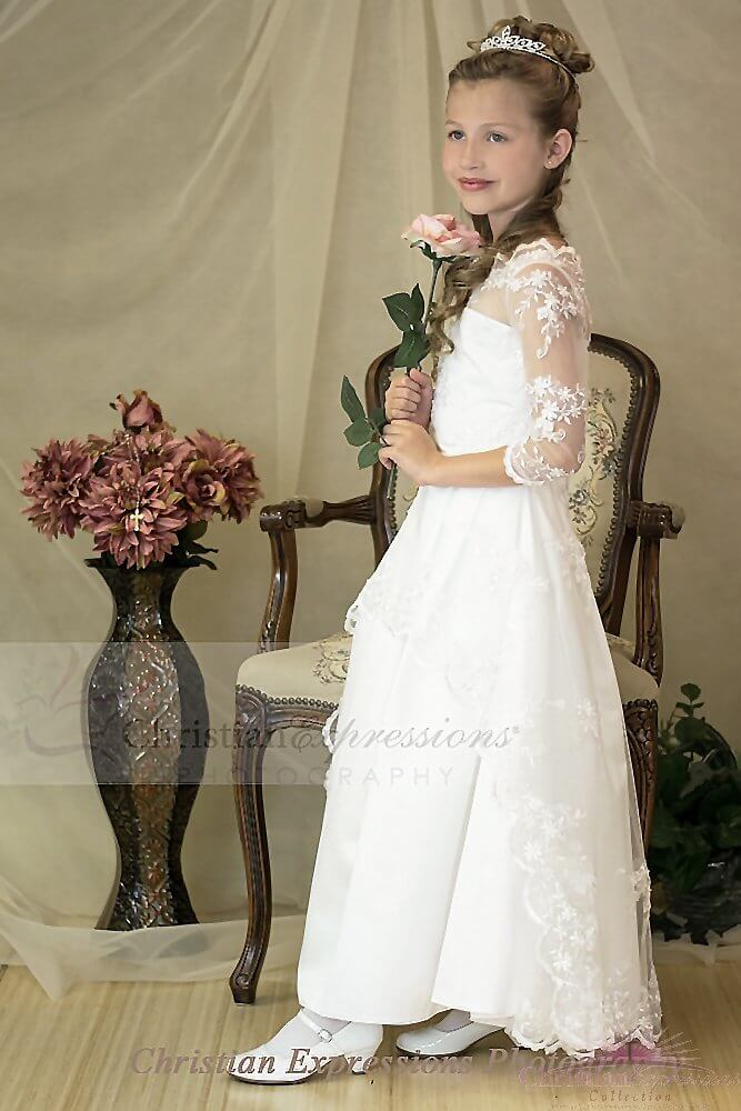 Three Quarter Sleeves Lace Organza First Communion Dress with Pearl Beading