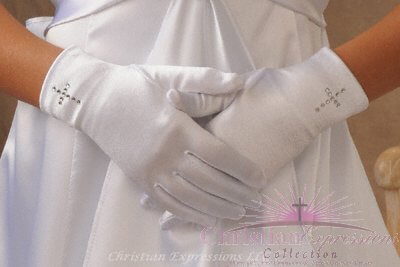 First Communion Gloves Rhinestone Cross
