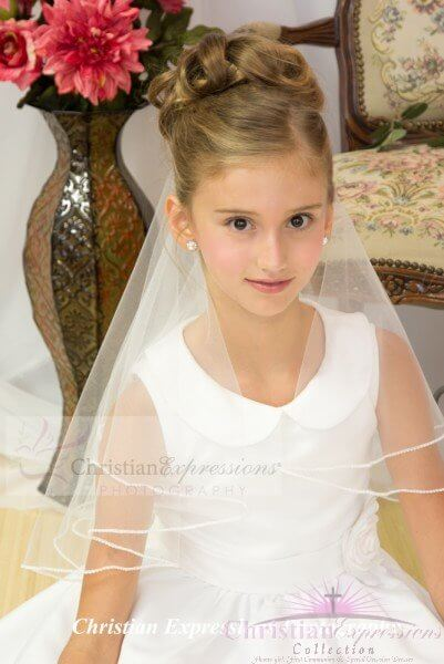 First Communion Two Tier Pearl Trim Veil