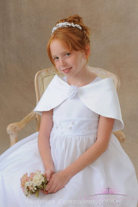 First Communion Satin Caplet with Rose