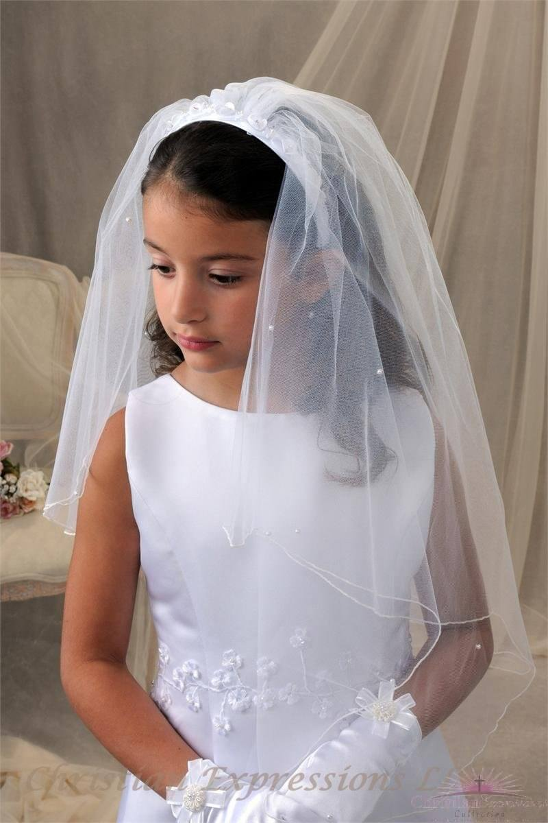 First Communion Headband Veil with Raised Flowers