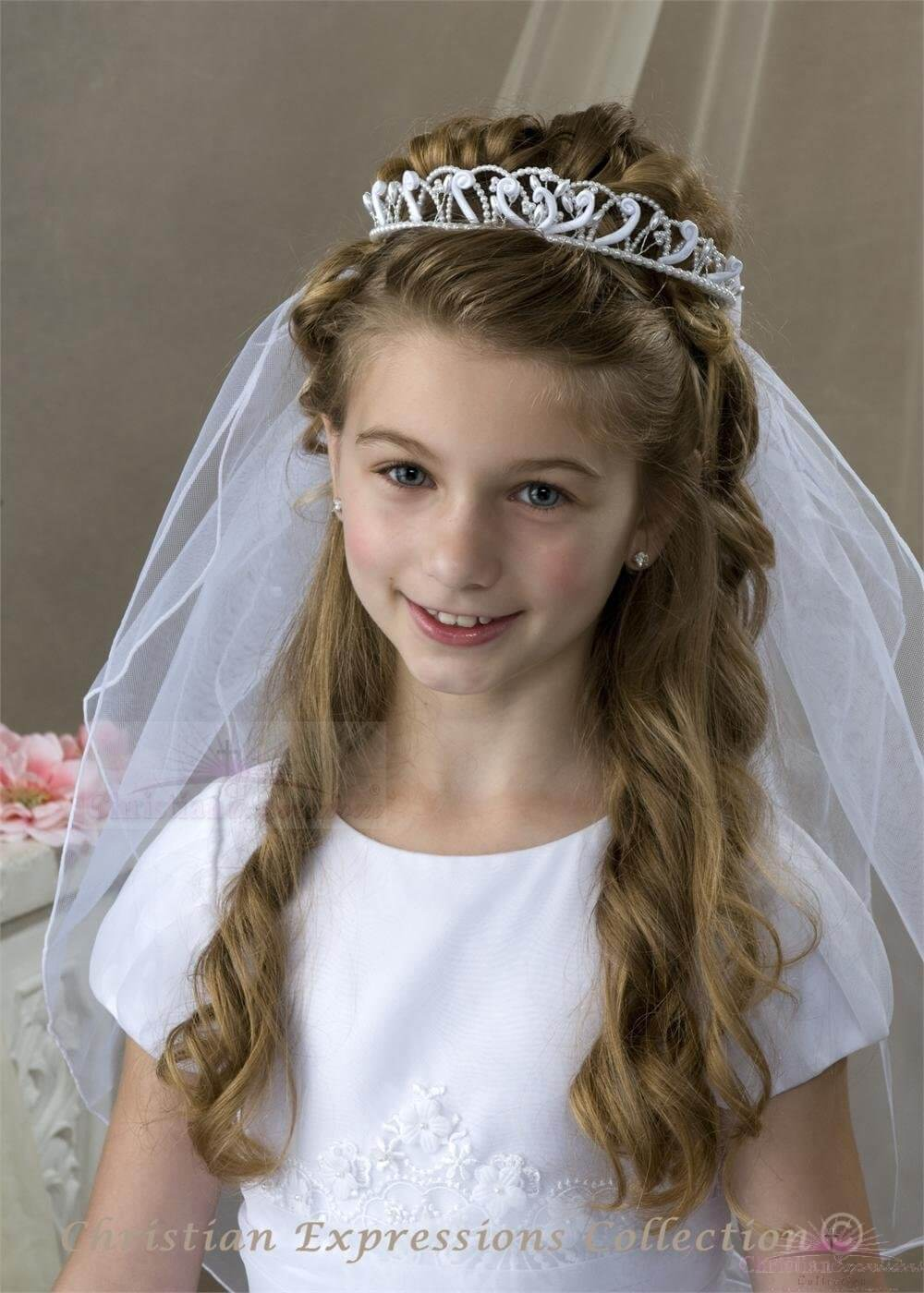 First Communion Bun Wrap Veil Pearl Swirls