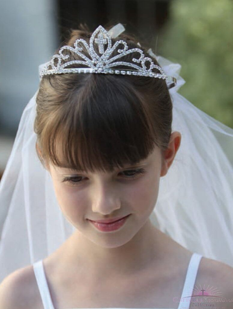 First Communion Cross Tiara Veil