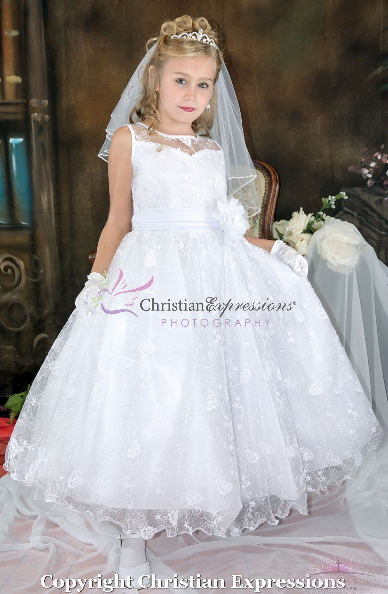 Lace First Communion Dress with Sheer Neckline Long Length