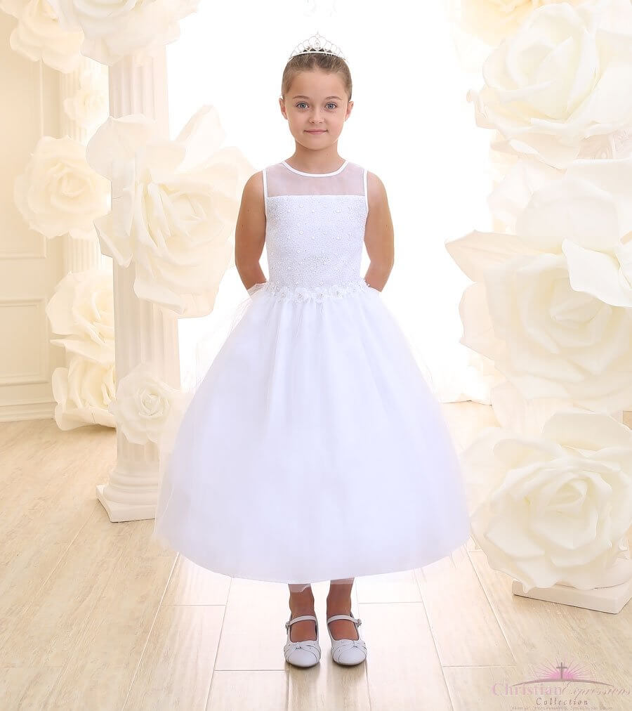First Communion Dress Beaded Waist Floral Bodice