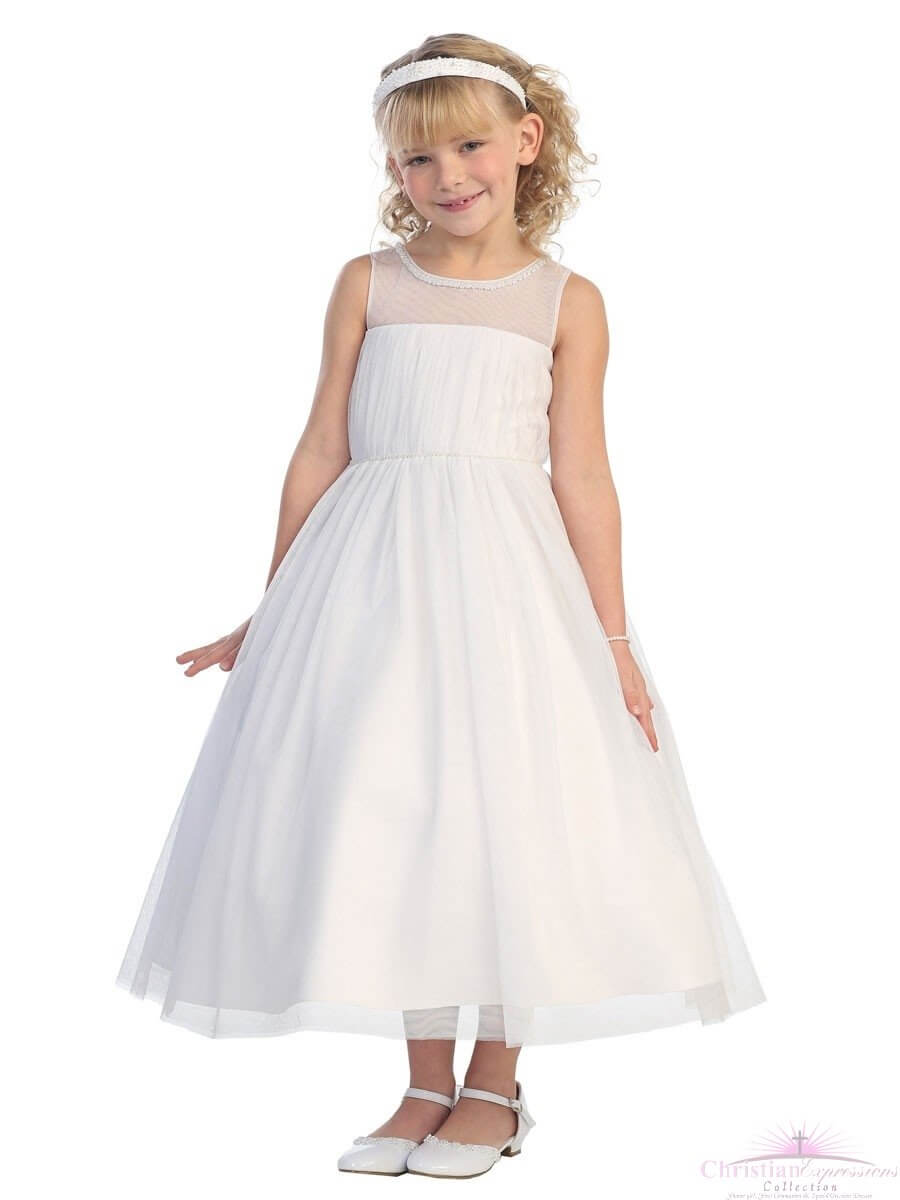 First Communion Dress Illusion Neckline Mesh Bodice