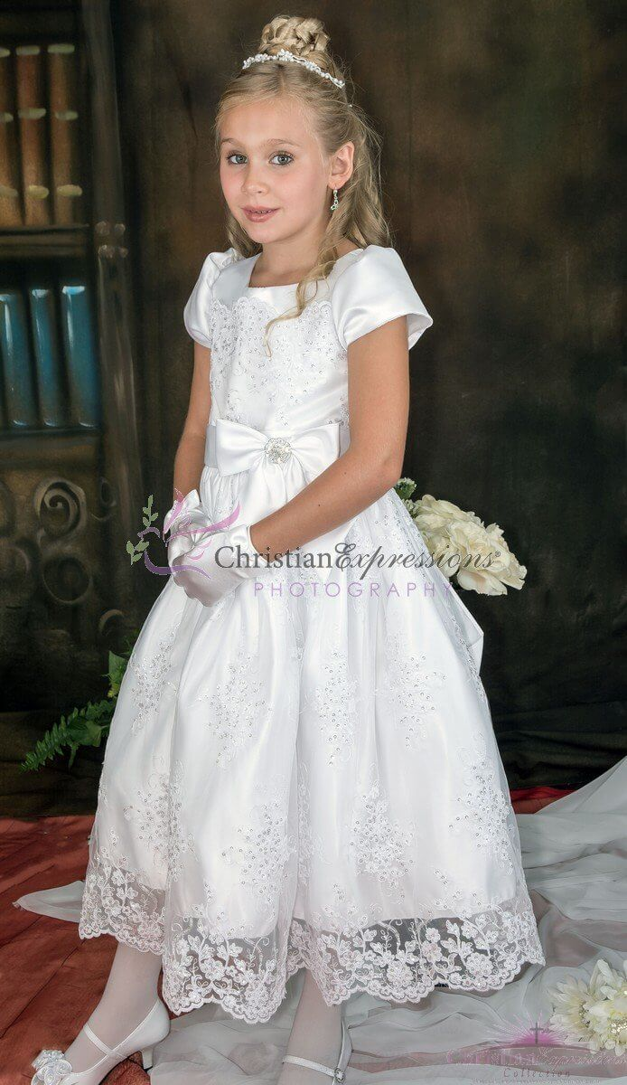 Tea Length Corded Tulle With Sequins First Communion Dress ...