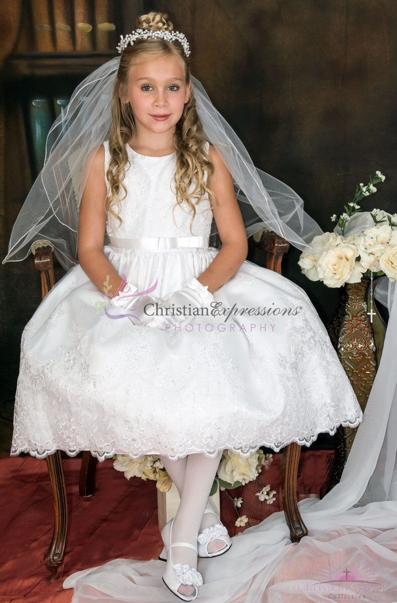 Embroidered Organza Pretty First Communion Dress size 10