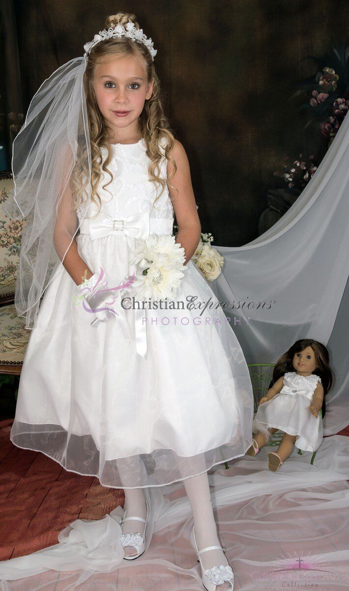 Sleeveless Ribbon tulle First Communion Dress