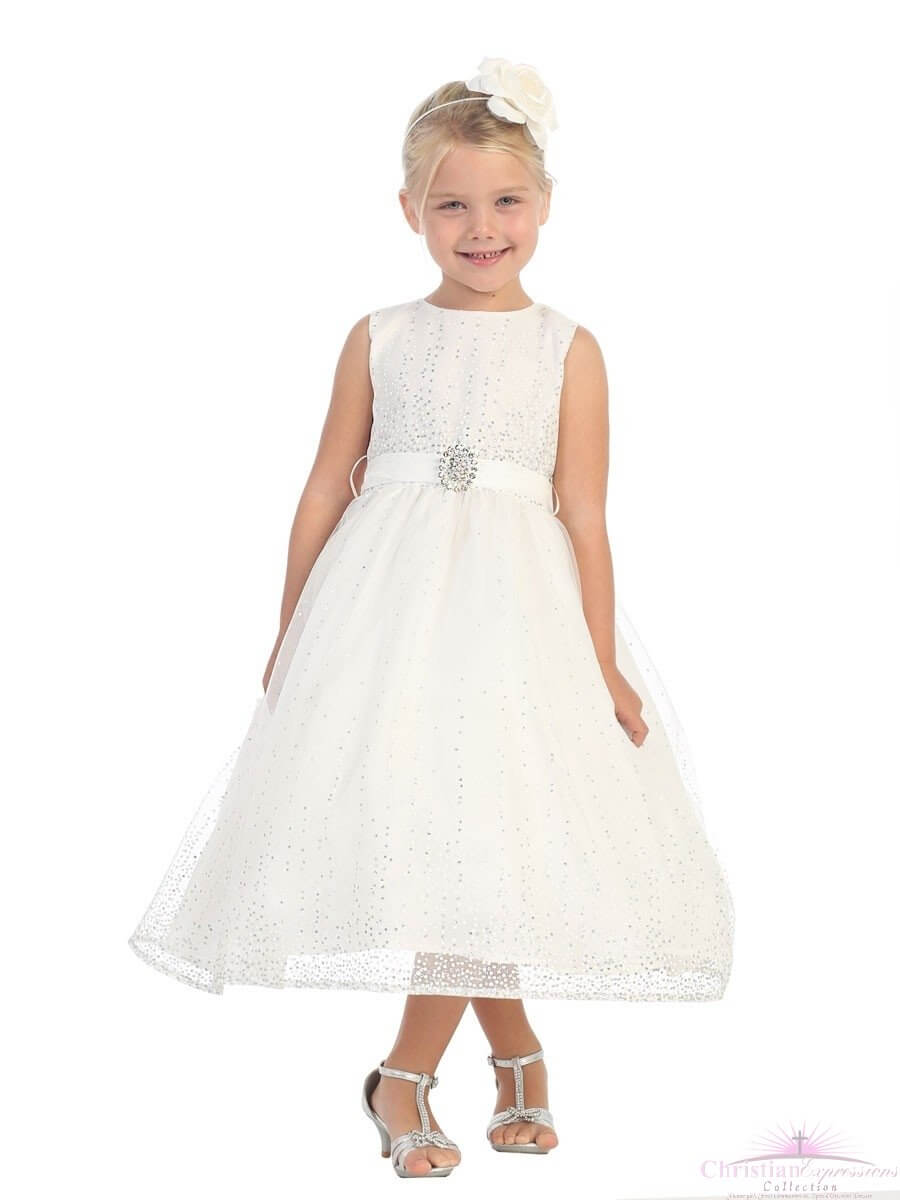First Communion Dress with Rhinestone Beading Glittered Skirt
