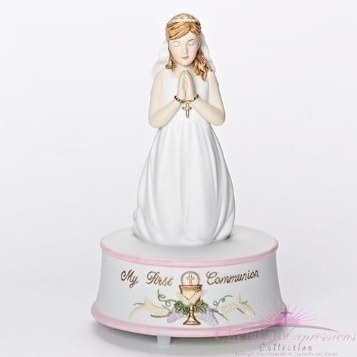 First Communion Porcelain Music Box Girls