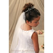 First Communion Bun Wrap Veil Style Kelsey