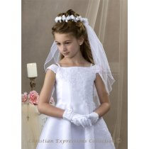First Communion Bun Wrap Veil Satin Roses and Pearl Spray
