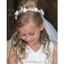 First Communion Wreath Veil Pearls