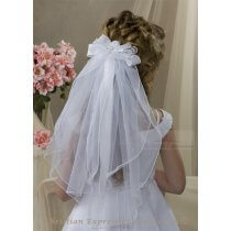 First Communion Clip Veil with Satin Organza Bow and Rosebud