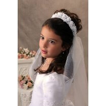 First Communion Bun Wrap Veil Satin Flowers and Pearls