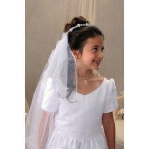 First Communion Bun wrap Veil with Flowers and Ribbon Streamers