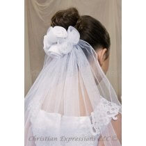 First Communion Clip Veil with Satin Organza Roses