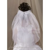 First Communion Comb Veil with Organza Bow and Streamers