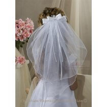 First Communion Clip Veil with Organza & Satin Bow and Rosette
