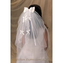 First Communion Comb Veil Satin Bows and Streamers