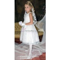 first communion dress with lace embroidery size 12