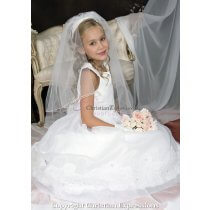 Organza Lace Rhinestone First Communion Dress 14