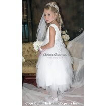 first communion dress floral crochet bodice size 7