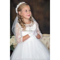 First Holy Communion Wreath Veil with Satin Flowers