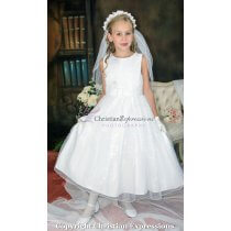 First Communion Dress Lace Bodice with Silver Beading Size 12