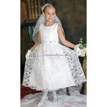 White Lace Sequined First Communion Dress
