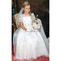 Satin & Organza First Communion Dress short Sleeves