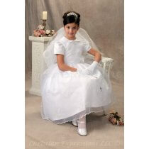 Organza Pearl Beaded First Communion Dresses Peter Pan Collar