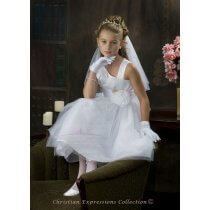 White First Communion Dress Asymmetrical Neckline