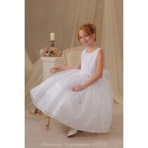 White First Holy Communion Dress with Diamond Quilted Bodice