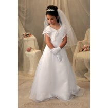 Organza First Communion Dress with Attached Scarf