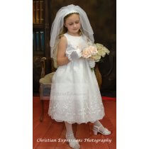 Embroidered Organza Tea Length Designer Half Size First Communion Dresses