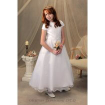 Girls First Holy Communion Dress Cap Sleeves