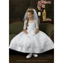 Satin First Communion Dress with Embroidered Organza