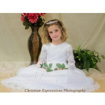 Designer First Communion Dresses with Lace Long Sleeves