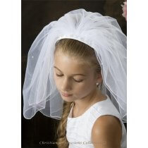 First Communion Headband Veil Braided Satin and Pearls