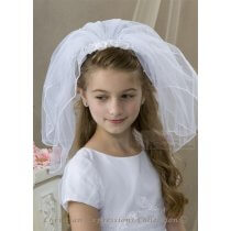 White First Communion Headband Veil  Lace Flowers and Pearls