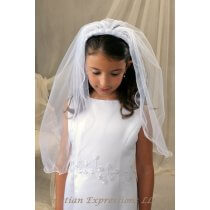 First Communion Headband Veil with Pearl Rosettes