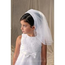 First Communion Headband Veil Organza Bows and Pearls